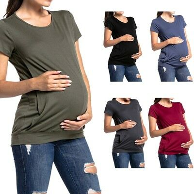 Women Maternity Clothes Breastfeeding Top T-shirt Nursing Blouse Pregnant Casual
