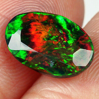 1.5CT Ethiopian Play Of Color Black Opal Faceted Cut  Natural UQOP2046