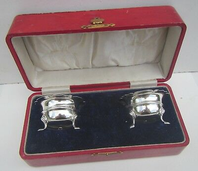 Old Boxed Pair of Solid Silver Salt Cellars - Hallmarked Birmingham 1904