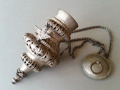 ANTIQUE silver alloy HANGING SANCTUARY CENSER ICON BURNER LAMP Balkan XIXc