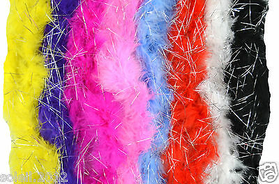 Feather Boa with Glitter Marabou 2 M Scarf Spring Scarf Costume JGA Carneval NEW