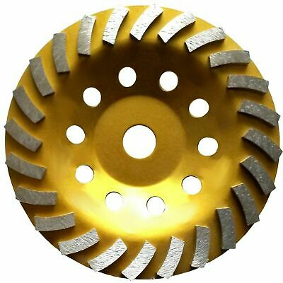 """7"""" Standard Concrete Turbo Diamond Grinding Cup Wheel for Angle Grinder 24 Segs"""