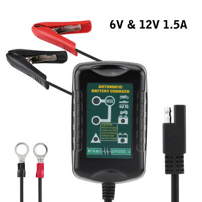 6V/12V 1.5A Automatic Car Battery Charger Maintainer Charging for RV GEL US Plug