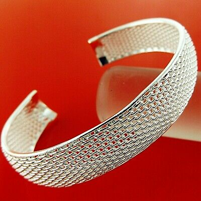 Bangle Bracelet Cuff Genuine Real 925 Sterling Silver S/f Solid Ladies Design