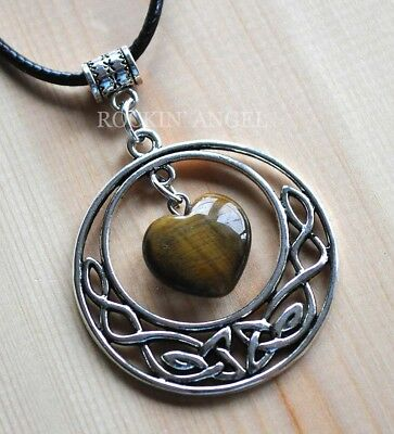 Antique Silver Plt Celtic Pendant Tigers Eye Heart Necklace Ladies GIft Reiki