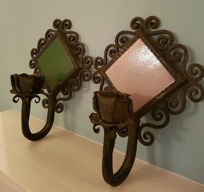 Antique unusual Tile candle Holders x2 wall sconce lamps option to make electric
