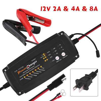 12V 2/4/8A 3 in1 Smart Automatic Battery Charger for Car RV AGM GEL US Plug 110V