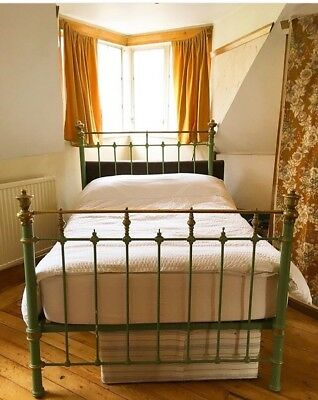 antique double size brass & iron bed - green and gold easy to assemble