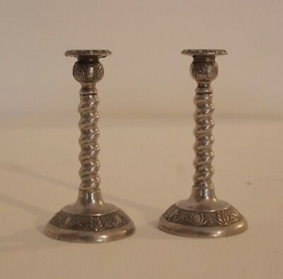 Pair of Vintage Silver Tone Ornate Twist Candle Sticks