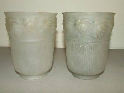 Antique Matching Pair of Deco Frosted Glass Tulip Glass Hurricane Shade Globes