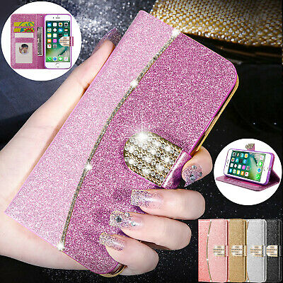 Bling Glitter Magnetic Flip Wallet Leather Case Cover For iPhone XS 6S 7 8 Plus