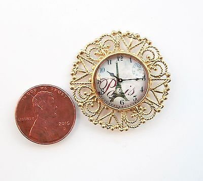 New! Ornate Retro Gold Glass Dome Dollhouse Miniature Wall Clock Reg.$29.