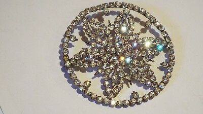 Stunning Good Quality Vintage Large Claw Set Cut Glass Sparkly Stones Brooch