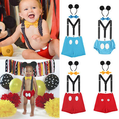 Mickey Mouse Baby Boy 1st Birthday Party Outfit Cake Smash Costume Photo Props