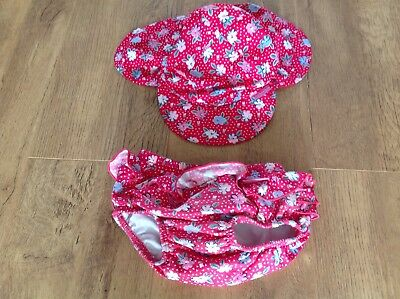 jojo maman bebe flower swim nappy and hat 1-2 years