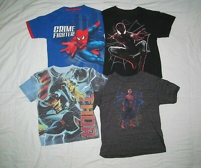 Spiderman and Thor Youth 8 Lot of 4 kids Marvel themed Superhero T shirts