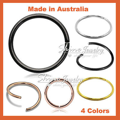6-8-10mm S925 Sterling Silver Seamless Hoop Ring Nose Ear Lip Piercing Sleeper