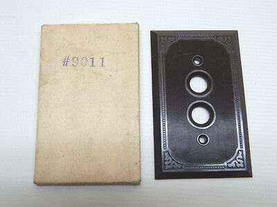 Antique Brown Bakelite Push Button Wall Light Switch Plate Cover NOS