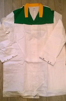 """MENS white green yellow lab work dust coat, NHS Science 49"""" chest Size XL"""