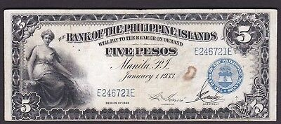 US Philippines Banknote 5 Pesos 1933 Bank of Philippine Island SN# E246721E