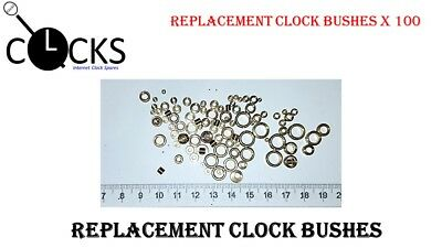 Clock bushes brass x100 assorted pivot bush, mixed sizes, spare parts, UK seller