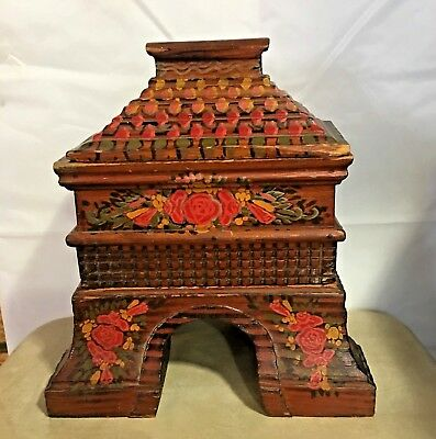 Antique Wood  3 Piece Decorative Hand Painted Asian Temple Shaped Box / Altar