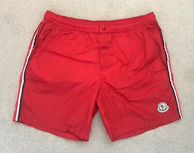 Boys Moncler Nylon Logo Swimmers/swim Shorts - Red - Size 14 Yrs Rrp £85