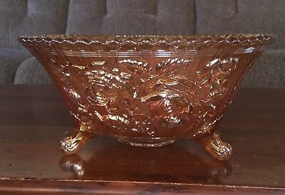 Antique Imperial Marigold Carnival Glass Irridescent Open Rose Large Footed Bowl