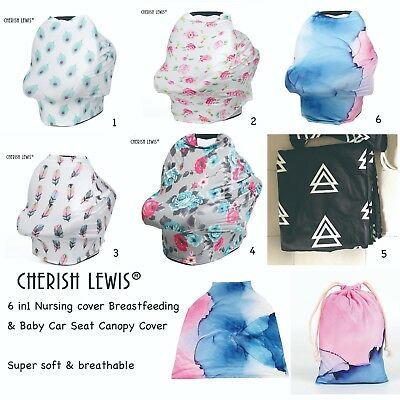 6 in1 Nursing cover Breastfeeding & Baby Car Seat Canopy Cover- CHERISH LEWIS UK