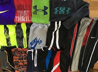 Lot's Of 16 Boy's Under Armour & Nike Shorts Shirts Pants Hoodie Size M