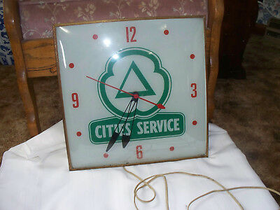 Vintage Cities Service Gas Station Large Electric Clock--Pam Clock Co.--Works