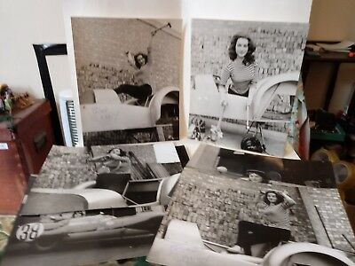 7 Vintage Original B/W Lotus Racing Car Photographs With A Lovely Young Lady!