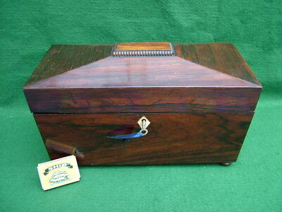 FINE ANTIQUE HINGED ROSEWOOD JEWELLERY DOCUMENT TEA CADDY BOX with LOCK & KEY