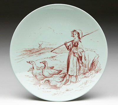 Minton Arts & Crafts Girl With Geese Plate Dated 1881