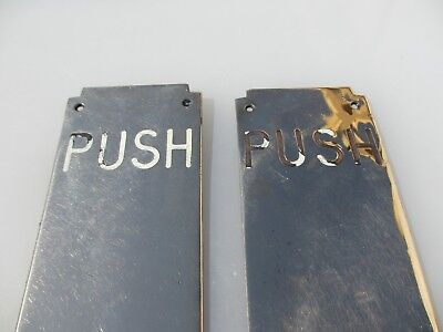 Antique Bronze Door Handles Enamel Finger Plate Art Deco Old Pair Old Brass  24""