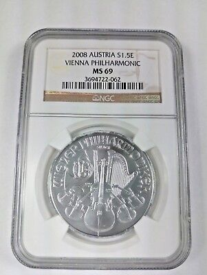 New 2008 Austrian Silver Philharmonic 1oz NGC MS69 Graded Coin - Last One !