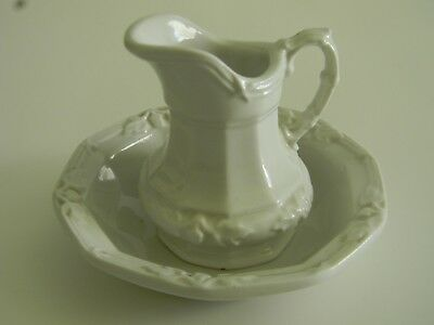 Vintage Mini Red-Cliff Ironstone Pitcher and Wash Basin Bowl, All White