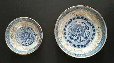 Vintage Chinese Condiment & Sauce Dishes-Blue dragon, gold, trim, rice pattern.