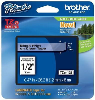 "Brother 1/2"" (12mm) Black on Clear P-touch Tape for PTD210, PT-D210 Label Maker"