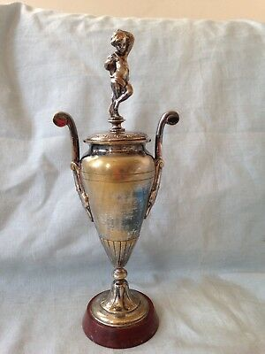 French 19th Century Silvered Bronze Neoclassical Urn Vase On Rouge Marble Base