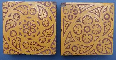 2 Lovely Antique Victorian Minton Gothic Revival Small Encaustic Tiles 1850s
