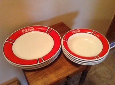 4 Plates And 4 Bowls Gibson Coca Cola Dishes Red Rim