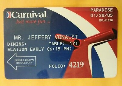 2005 Carnival Cruise Ship Hard To Find Logo Room Key Great For Any Collection!