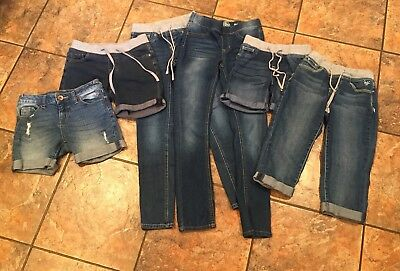 Girl's Shorts, Capris, Jeggings Size 10-12 Lot Of 6 Pairs Justice/SO Denim Jeans