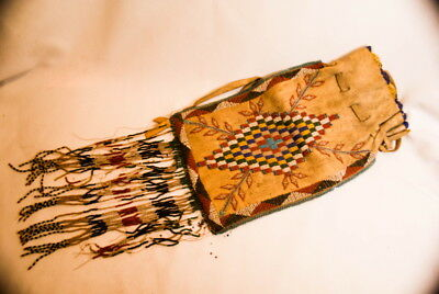 1890S Large Indian Leather Beaded Bag