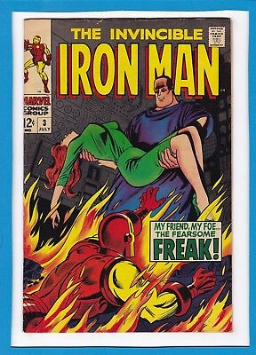 "Invincible Iron Man #3_July 1968_Fine+_""the Fearsome Freak""_Silver Age Marvel!"