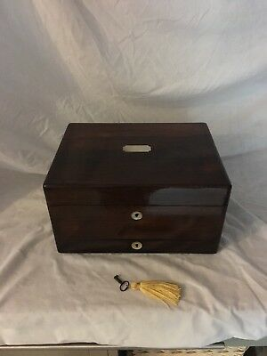 Antique Rosewood Fitted Vanity Box With Secret Drawer With Mirror