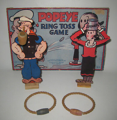 Vintage 1930s Popeye Olive Oyl Ring Toss Game w/ Box Top HU8