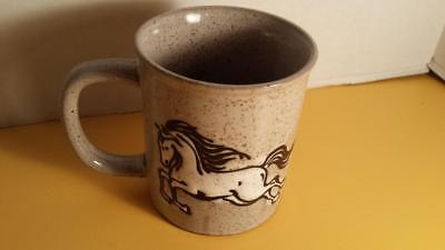 Beautiful Speckled Stoneware Running Stallion Horse Mug Coffee Cup Pottery NEW