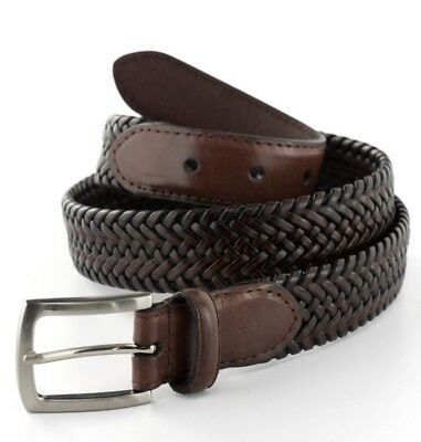 NWT Men's Dockers Tubular Stretch Braided Belt Brown